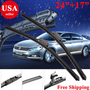 24 17 Windshield Wiper Blades J Hook Bracketless Oem Quality Beam All Season