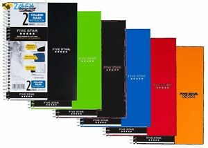 6 Pack Spiral Notebook College Ruled 2 Subject Assorted Colors School Students