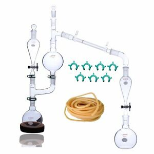 Steam Distillation Apparatus For Essential Oil Extraction Lab Glassware Kit 25pc