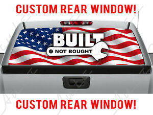 American Flag Built Not Bought Usa Pickup Chevy Truck Perforated Window Decal