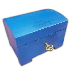 Wooden Jewellery Small Chest Lock And Key In Blue Color