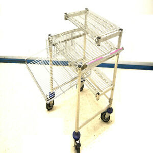 Wire Mobile 3 shelf Computer Workstation Cart W Casters And Pullout Drawer