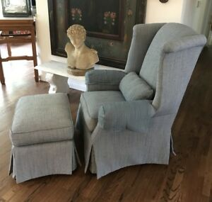 Sherrill Upholstered Wing Back Arm Chair Ottoman