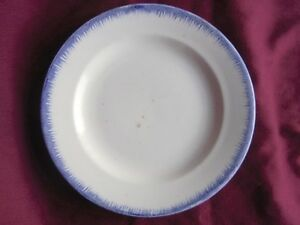 Antique Leeds Pearlware Blue Featheredge Ironstone 8 3 4 Plate Feather Edge
