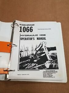 Koehring 1066 Hydraulic Excavator Operator s Manual And Parts Book Manual