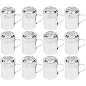set Of 12 10 Oz Stainless Steel Dredge Shaker With Handle By Tezzorio
