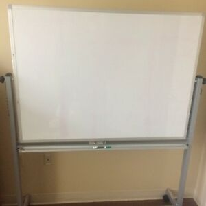 White Board 3 Feet High X 4 Feet Wide Reversible Stand With Wheels