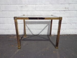 Side Table Gold Brass Vintage Mid Century Modern Hollywood Regency Boho Chic
