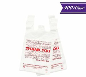 400 case 1 6 Full Size Plastic T shirt Shopping Bags thank You