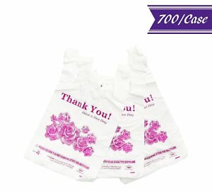 700 case 1 8 Size Thank You W purple Flowers Plastic T shirt Shopping Bags