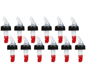 pack Of 12 Measured Liquor Pourers 1 Oz Clear Spout W Red Tail Pourer