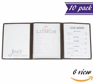 10 Pack Triple Panel Menu Covers Brown 6 View 8 5 X 11 inches Insert