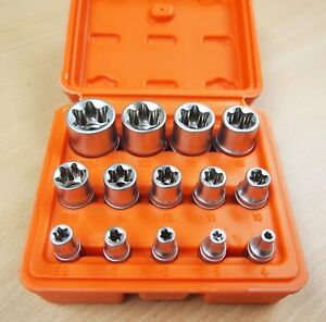 14 Pc E Torx Star Female Bit Socket Set 1 2 3 8 1 4 Drive E4 E24