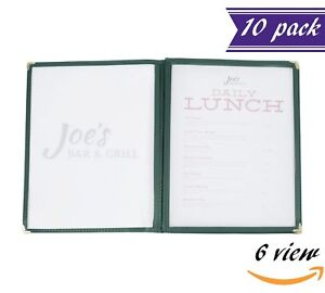 10 Pack 3 Page Book Fold Menu Covers Green 6 View 8 5 X 11 inches Insert