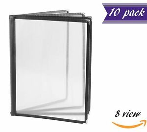 10 Pack 4 Page Book Fold Menu Covers Black 8 View 8 5 X 11 inches Insert