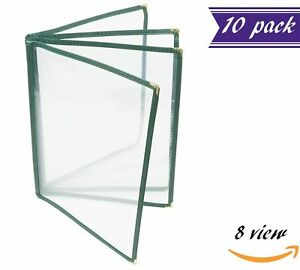 10 Pack 4 Page Book Fold Menu Covers Green 8 View 8 5 X 11 inches Insert