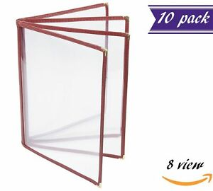 10 Pack 4 Page Book Fold Menu Covers Maroon 8 View 8 5 X 11 inches Insert