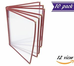10 Pack 6 Page Book Fold Menu Covers Maroon 12 View 8 5 X 11 inches Insert