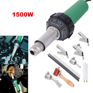 1500w Hot Air Hot Gas Plastic Welder Welding Gun Set W 5 Nozzles Pe