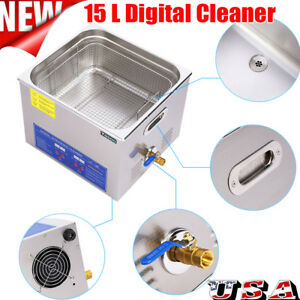 Stainless Steel 15l Liter Industry Heated Ultrasonic Cleaner Heater Timer Us