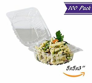 100 Pack 5 X 5 X 3 Clear Plastic Hinged Containers With Snap on Corners
