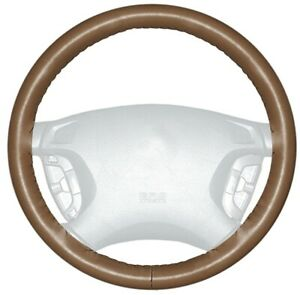Wheelskins Tan Genuine Leather Steering Wheel Cover For Audi size Ax