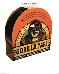 Gorilla Glue Black Tape 32m X 48mm Roll Strong Duct Gaffer Tape Free Delivery