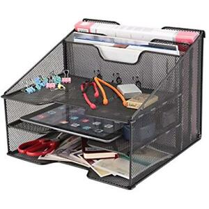 Samstar Mesh Desk File Organizer Letter Tray Holder Desktop With 3 Paper Trays