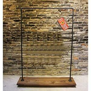 Industrial Garment Clothing Rack Pipeline Vintage Rolling Stand Storage W wheels