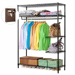 Industrial Garment Brown Rack Wire Shelving Portable Clothes Closet Wardrobe Zip