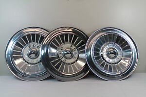1957 Ford Farlain Sunliner Stainless Steel Wheel Cover Hubcaps 14 Quantity 3