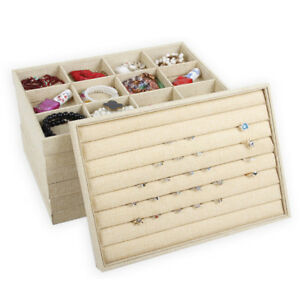 Linen Jewelry Display Tray Ring Necklace Bracelet Holder Showcase