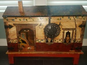 Antique Hand Painted Chest Trunk