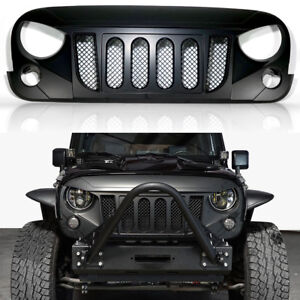 Monster Angry Front Matte Black Grille Grill For Jeep Wrangler Jk 2007 2017