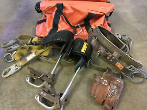 Bashlin Lineman Belt 150 Vr With Pole Gaffs Klein Carry Bag With Extras
