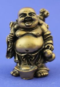 Vtg Hand Carved Wood Golden Finish Happy Prosperous Buddha Collectible Figurine