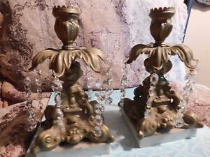 Gorgeous Antique Candlesticks Brass And Marble Italy Gorgeous Crystals