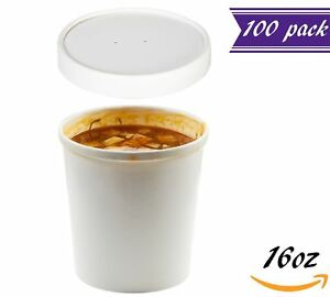 set Of 100 16 Oz White Paper Soup Containers With Lids Combo Pack Hot Cold