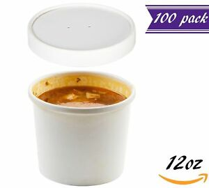 set Of 100 12 Oz White Paper Soup Containers With Lids Combo Pack Hot cold