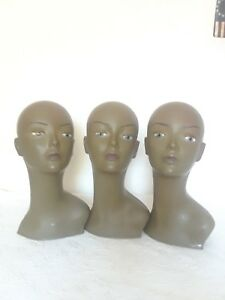 Lots Of 3 Realistic Durable Plastic Head Mannequin Wig Hat Jewelry Display