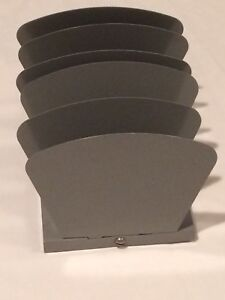 Vintage Gray 5 Slot Office Desktop Paper Organizer Metal Desk Tray Industrial