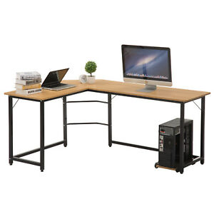 New Office Home L shape Computer Desk Wooden Study Laptop Table Workstation