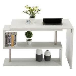 New White Rotating Computer Desk Workstation Study Table Shelve Home Office
