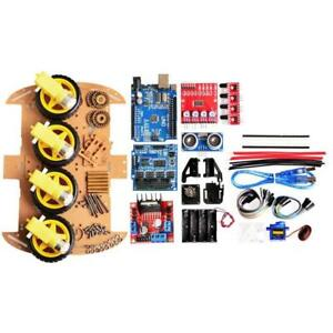 Avoid Track Motor Robot Smart Car Chassis Kit 4wd Ultrasonic For Arduino Pro