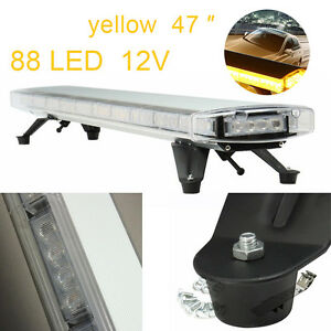 88w 88 Led 47 Amber Light Bar Beacon Warn Tow Truck Plow Response Strobe Lamp