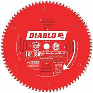 Freud D1080n Diablo 10 inch 80 Tooth Tcg Non ferrous Metal And Plastic Cutting S
