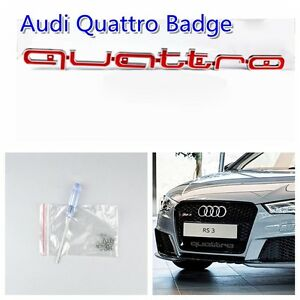 For Audi Rs A3 A5 A6 A7 Q3 Q5 Q7 Tt S line Red Quattro Front Grille Badge Emblem