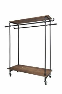 Black Industrial Garment Rack Clothing Display Double Wood Bracket Top Base New