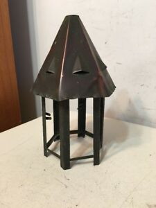Antique Arts Crafts Copper Lamp Shade Cupola Architechtural Needs Slag Glass