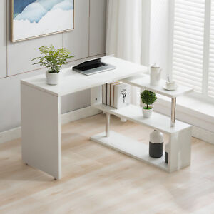 New White Rotating Computer Desk Workstation Study Table W shelve Home Office